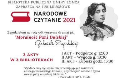 Narodowe Czytanie 2021 – Moralność Pani Dulskiej – 4.09.2021
